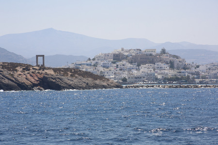 View on Naxos and Portala gate seen from the boat