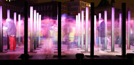 GHENT, BELGIUM - JAN 29, 2015: The light festival in Ghent on Jan 29, 2015. All kinds of light sculptures and installations in the historical centre of Ghent. 報道画像