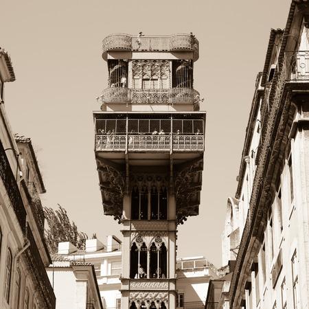 ascensor: The famous Santa Justa elevator in Lisbon, Portugal