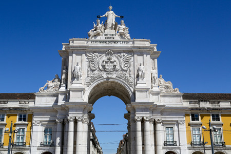 The arch at the Plaza of Commerce, Lisbon, Portugal