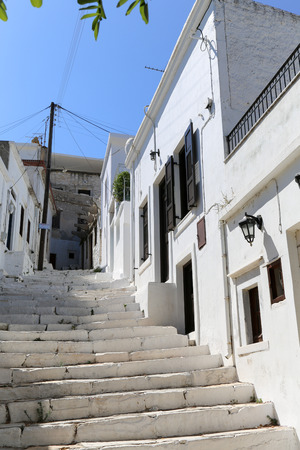 The small streets of Apiranthos at the Naxos island at the Cyclades of the Aegean sea in Greece photo