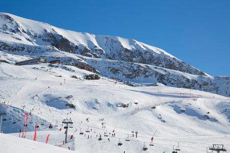 The Alpe d Huez ski domain in the French Alps