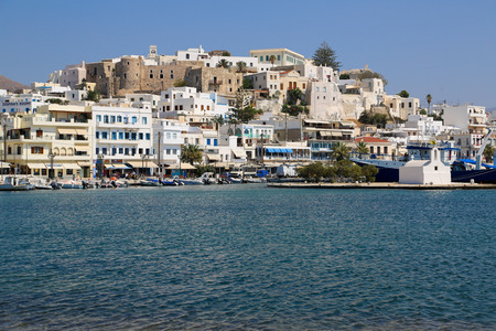 View on Naxos seen from the boat photo