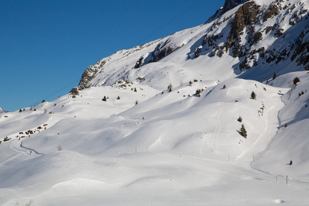 snowbank: Mountain around the Oz en Oisans Station in the French Alps
