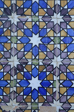 azulejo: A traditional drawing with azulejo tiles, Portugal Stock Photo