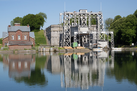 boat lift: Old hydraulic boat lifts and historic Canal du Centre, Belgium, Unesco Heritage - The hydraulic lift of Thieu Editorial