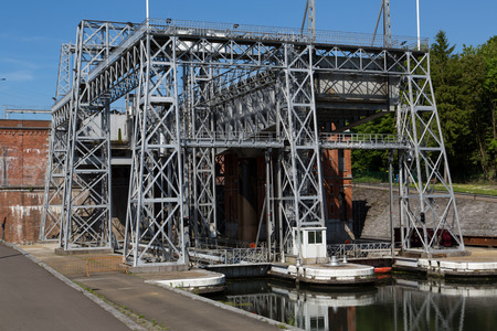 boat lift: Old hydraulic boat lifts and historic Canal du Centre, Belgium, Unesco Heritage - The hydraulic lift of Houdeng-Goegnies Editorial