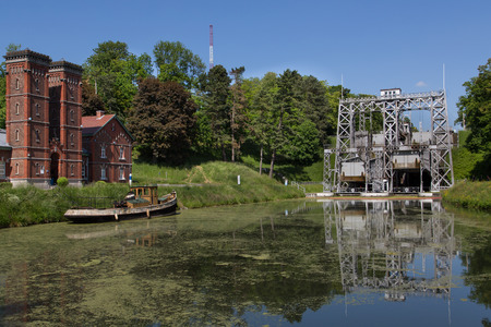 boat lift: Old hydraulic boat lifts and historic Canal du Centre, Belgium, Unesco Heritage - The hydraulic lift of Strepy-Bracquegnies