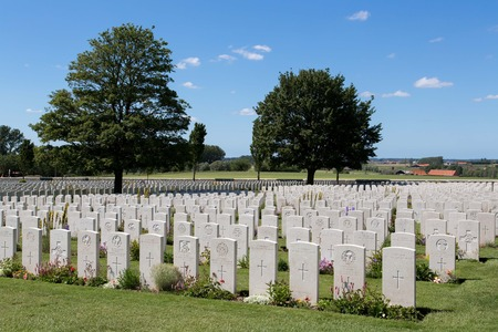 cemetry: Tyne Cot World War One Cemetery, the largest British War cemetery in the world in Passendale, Belgium