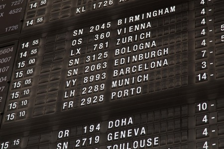 departure board: Airport departure board in terminal with flight information