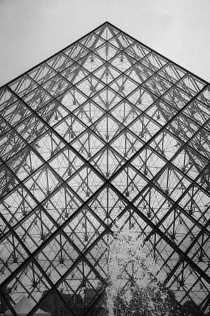 louvre pyramid: Famous Louvre Museum Pyramid made of glass in Paris, France