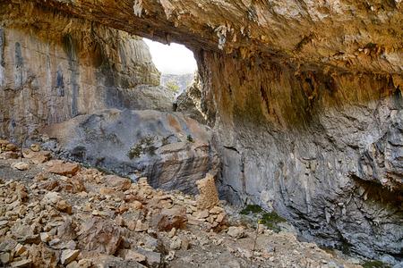 Archaeological site of Tiscali nuragic village in Dorgali, Sardinia, Italy 写真素材