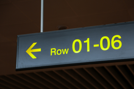 departure: Information sign in an airport departure terminal Stock Photo