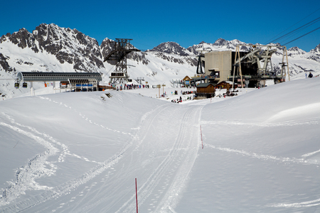The ski lift of Vaujany and Oz en Oisans Station (Alpette - Grandes Rousses)