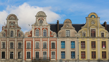 heros: Old buildings around the Grand Place in the French Arras Stock Photo
