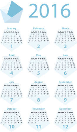 a 2016 yearly calendar based on a blue pentagon stock photo picture