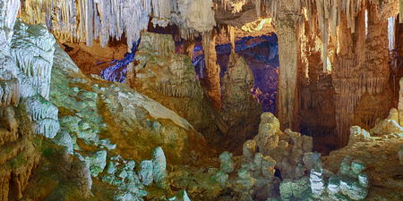 neptun: Beautiful interior of sea Neptun Cave - Sardinia, Italy Stock Photo