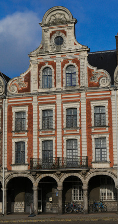 mystic place: Old buildings around the Grand Place in the French Arras Stock Photo
