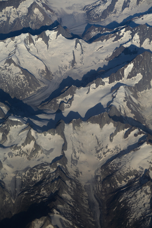 aereal: Aerial view of the Alps from a plane Stock Photo
