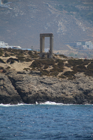 naxos: The Portara Gate of the Apollo Temple in Naxos island Stock Photo