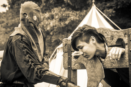 reenacting: ANTWERP, BELGIUM - JUN 4, 2016: Experience the Middle Ages as it was in 1477 during a medieval re-enactment event. on Jun 4, 2016.