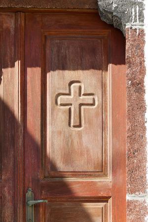 greek islands: Typical brown door at the Greek islands