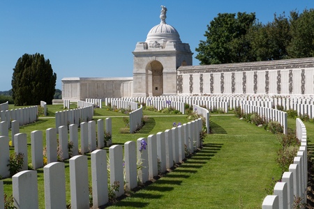 PASSENDALE, BELGIUM - JUN 6, 2015: Tyne Cot World War One Cemetery the largest British War cemetery in the world in Passendale Belgium on Jun 6, 2015. Editorial