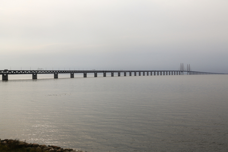 The Oresund Bridge connects Sweden and Denmark and is a combined twin-track railroad and four-lane highway bridge-tunnel across the Oresund strait.