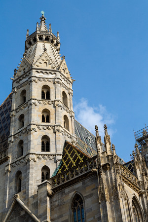 stephen: St. Stephens Cathedral with ornately patterned, multi colored roof in Vienna, Austria
