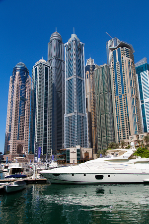 DUBAI, UAE - SEP 29, 2014: Luxurious Residence and Business Buildings in Dubai Marina, UAE on Sep 29, 2014.