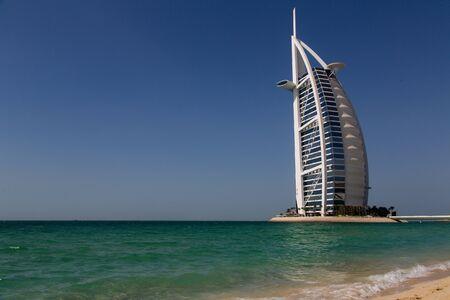 DUBAI, UAE - SEP 29, 2014: Burj Al Arab, considered the world's most luxurious hotel on Sep 29, 2014.