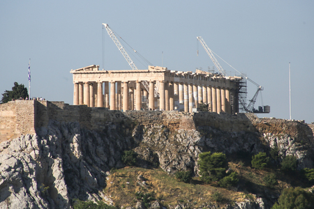 View on the Acropolis in Athens, Greece 写真素材