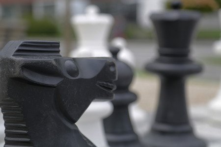 Black and white king on a chess board in open air