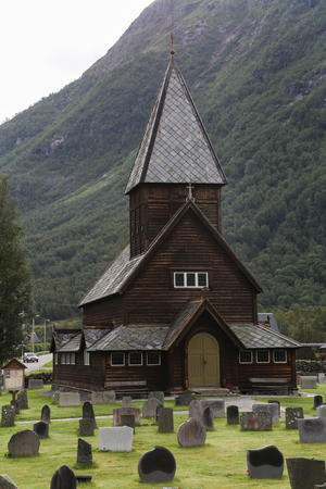 The 13th century old Roldal Stave Church (Roldal stavkyrke) 写真素材
