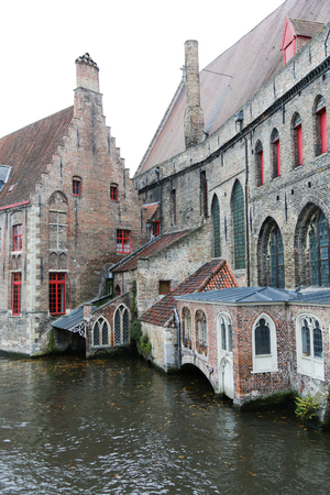 View on canal and houses in Bruges