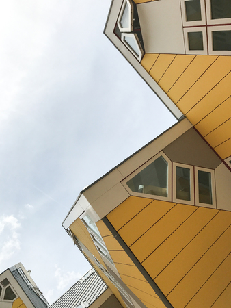 Cube houses (Kubuswoningen) are a set of innovative houses built in Rotterdam designed by architect Piet Blom 写真素材