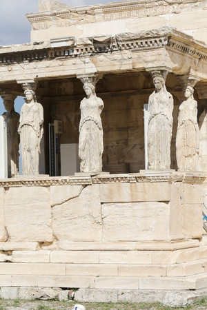 The Porch of the Caryatids at the Acropolis in Athens, Greece