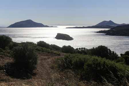 Scenic view of Cape Sounion from the temple of Poseidon
