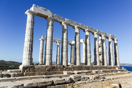 The Ancient Greek temple of Poseidon at Cape Sounion, Athens, Greece 写真素材 - 120002501
