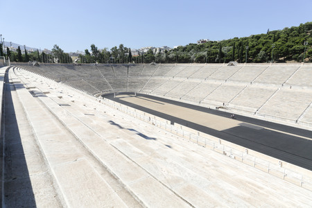 The Panathenaic stadium or kallimarmaro in Athens hosted the first modern Olympic Games in 1896 写真素材 - 120002506