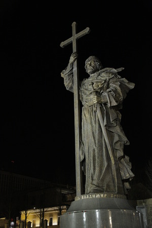 monument of Vladimir in Moscow at night