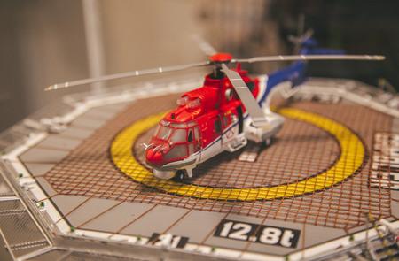 Helicopter model on ship platform Stock Photo