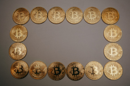 frame of bitcoins in the form of a circle, square and heart Banco de Imagens