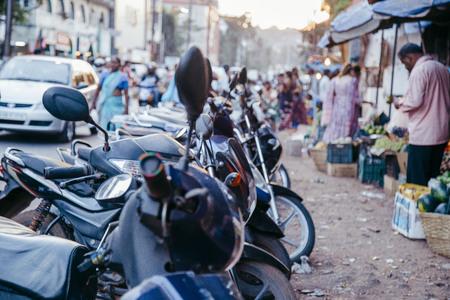 motorcycles near the market