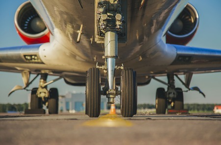 jets front nose landing gear at the airport