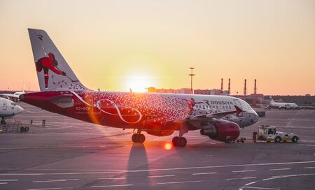 Moscow, Vnukovo airport, 1st August 2018 , spotting of Rossiya Airlines airplanes at the evening sunset