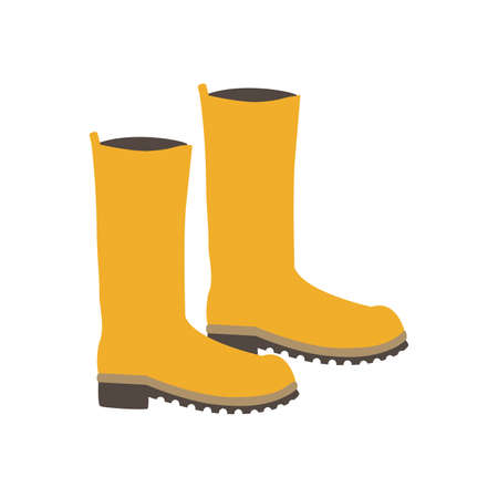 Cute yellow rubber boots. Women's autumn boots in the rain. Cartoon illustration, simple flat image. Vetores