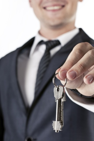 Man with keys in hand photo