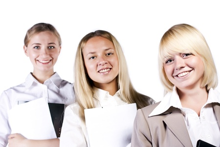 Group of three confident businesswoman smiling