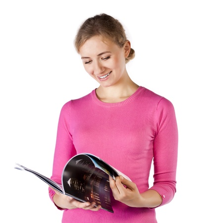 Smiling young woman read on white Stock Photo